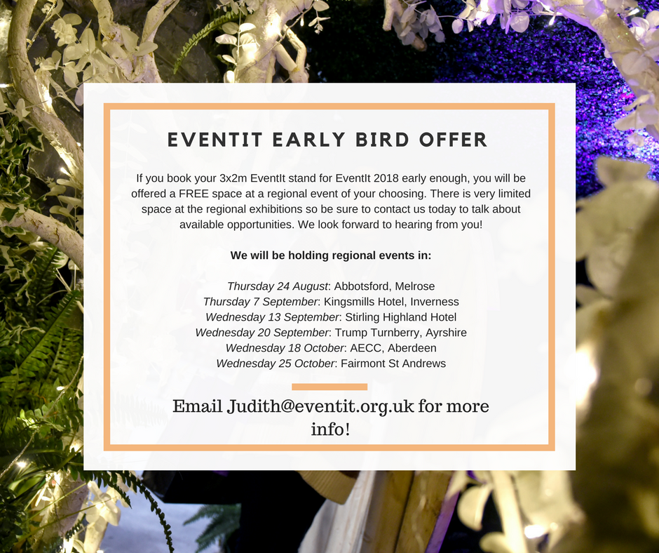 EventIt 2018 Early Bird offer for people and companies who want to sponsor or exhibit at the show